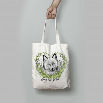 Say No To Fur tote bag white