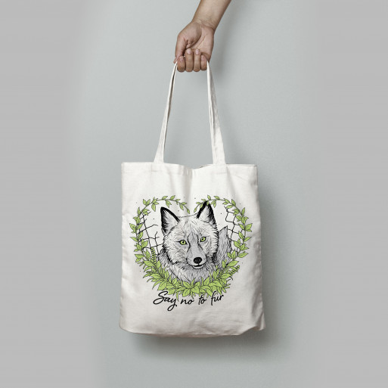 Say No To Fur tote bag white