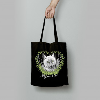 Say No To Fur tote bag czarna