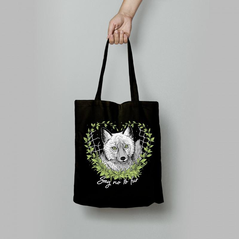 Say No To Fur tote bag czarna